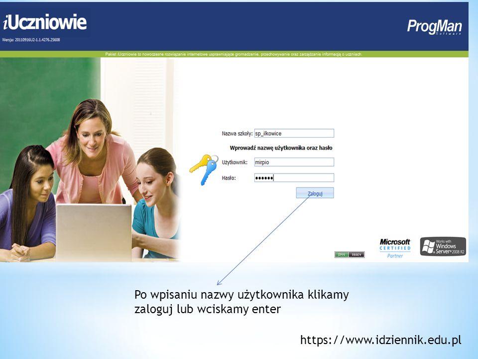 Po wpisaniu nazwy użytkownika klikamy zaloguj lub wciskamy enter