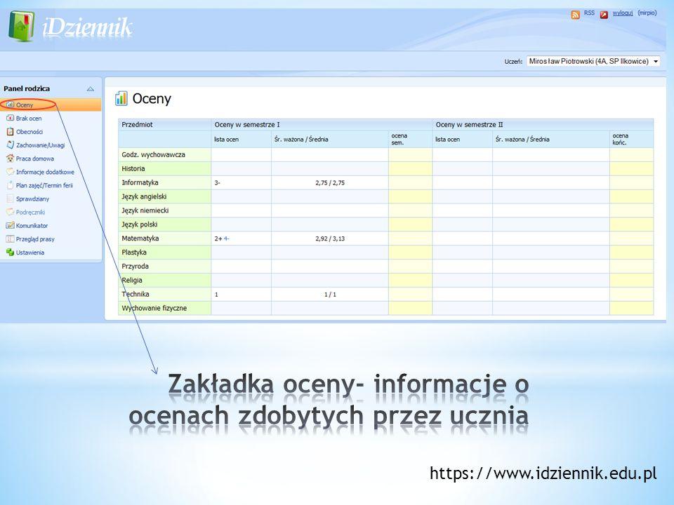 Zakładka oceny- informacje o ocenach zdobytych przez ucznia