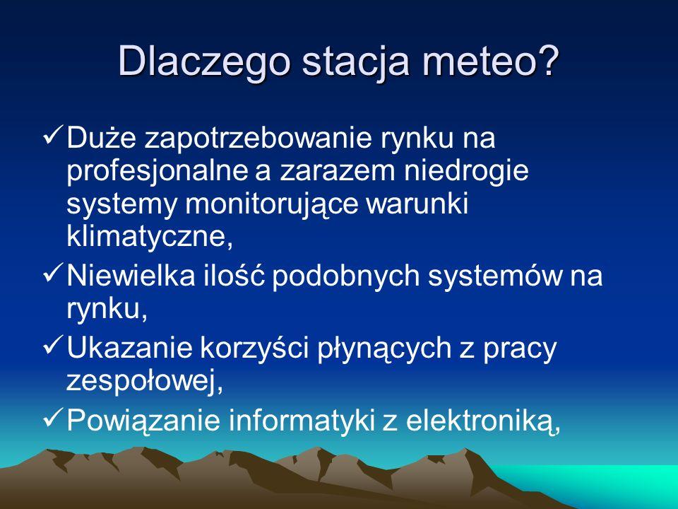 Dlaczego stacja meteo Duże zapotrzebowanie rynku na profesjonalne a zarazem niedrogie systemy monitorujące warunki klimatyczne,