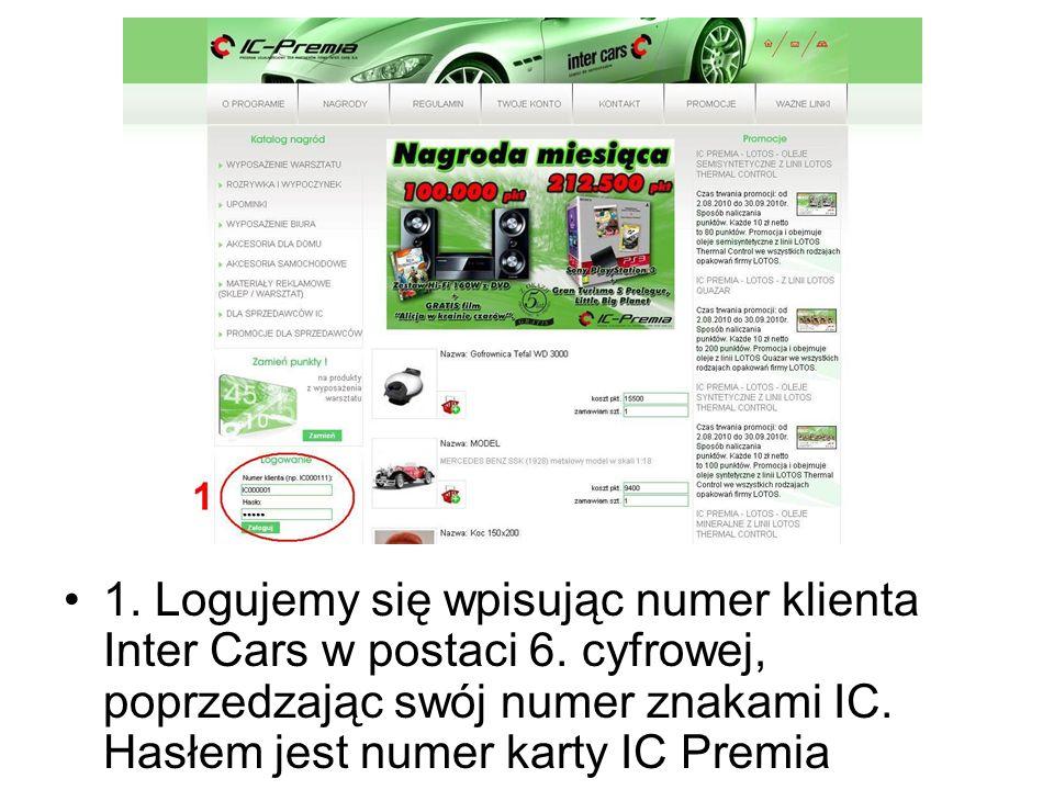 1. Logujemy się wpisując numer klienta Inter Cars w postaci 6