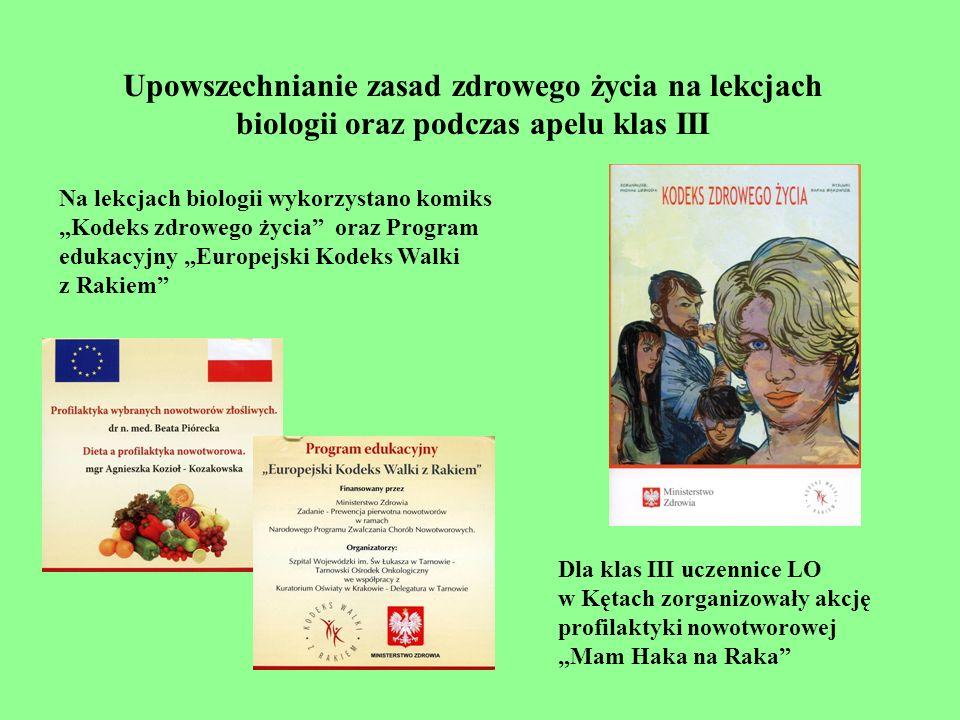 Upowszechnianie zasad zdrowego życia na lekcjach biologii oraz podczas apelu klas III