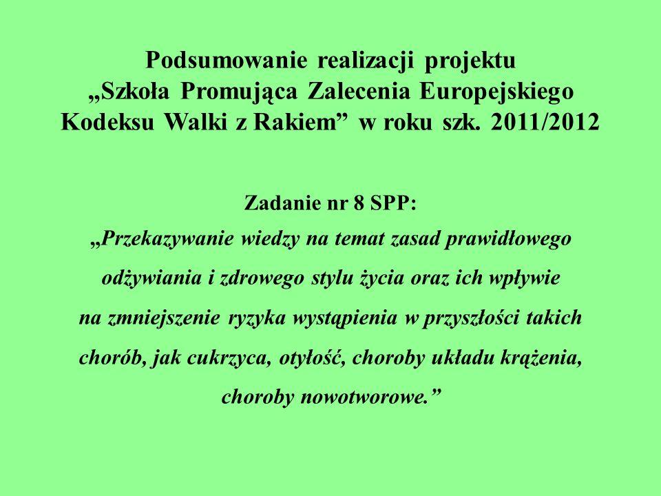 """Podsumowanie realizacji projektu """"Szkoła Promująca Zalecenia Europejskiego Kodeksu Walki z Rakiem w roku szk. 2011/2012"""