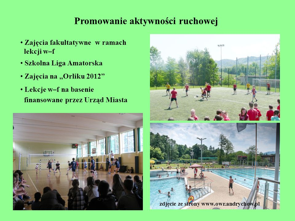 Promowanie aktywności ruchowej zdjęcie ze strony www.owr.andrychow.pl