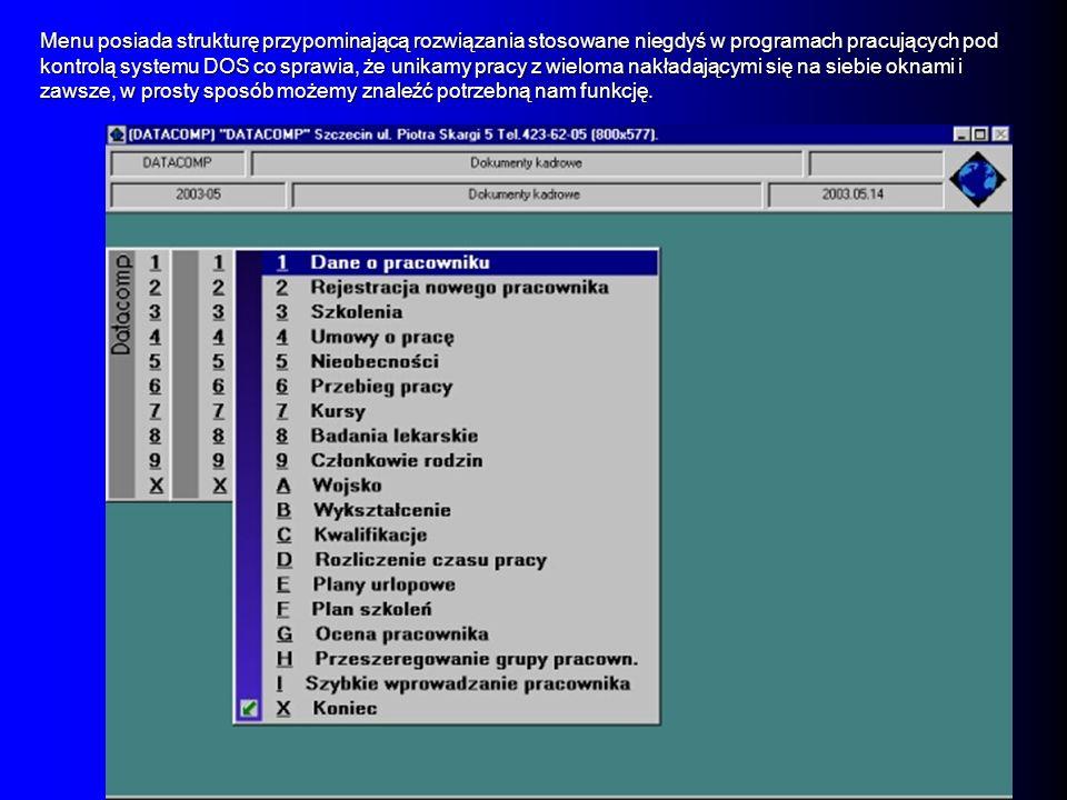 Menu posiada strukturę przypominającą rozwiązania stosowane niegdyś w programach pracujących pod kontrolą systemu DOS co sprawia, że unikamy pracy z wieloma nakładającymi się na siebie oknami i zawsze, w prosty sposób możemy znaleźć potrzebną nam funkcję.