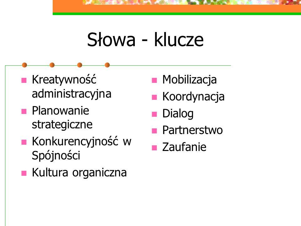 Słowa - klucze Kreatywność administracyjna Planowanie strategiczne