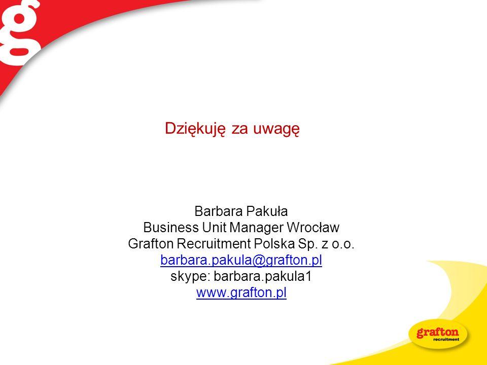Dziękuję za uwagę Barbara Pakuła Business Unit Manager Wrocław