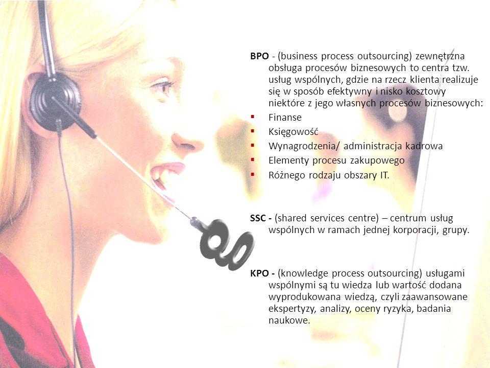 BPO - (business process outsourcing) zewnętrzna obsługa procesów biznesowych to centra tzw. usług wspólnych, gdzie na rzecz klienta realizuje się w sposób efektywny i nisko kosztowy niektóre z jego własnych procesów biznesowych: