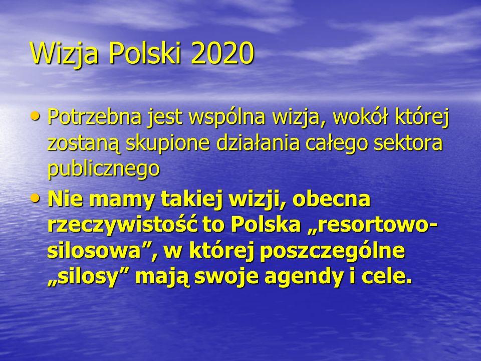 Wizja Polski 2020 Potrzebna jest wspólna wizja, wokół której zostaną skupione działania całego sektora publicznego.