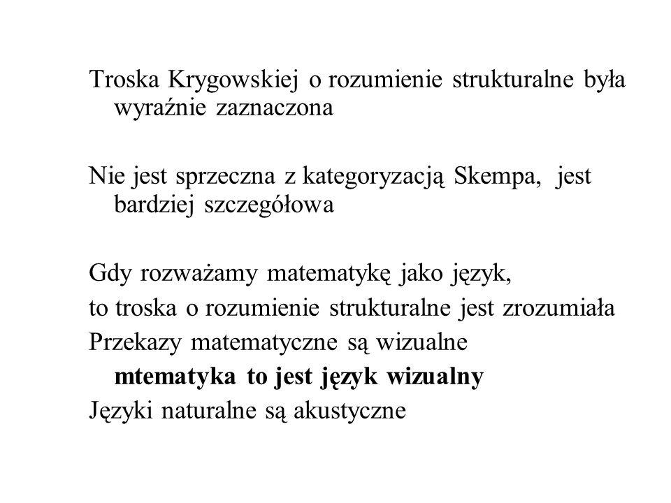 Troska Krygowskiej o rozumienie strukturalne była wyraźnie zaznaczona