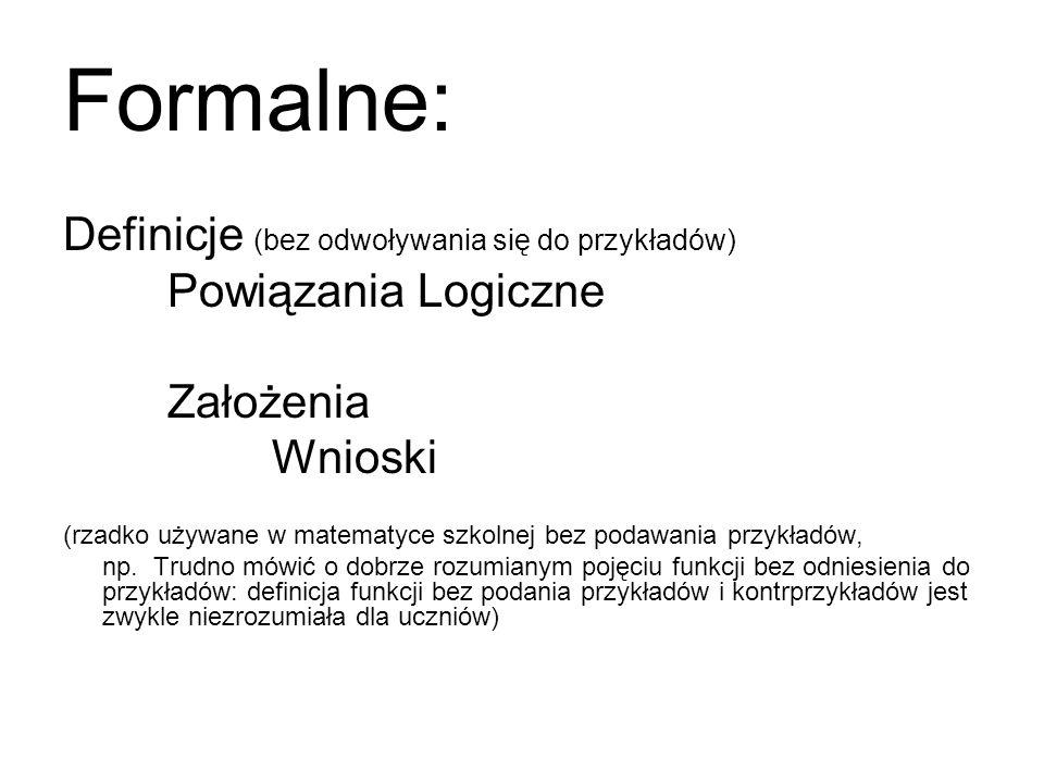Formalne: Definicje (bez odwoływania się do przykładów)