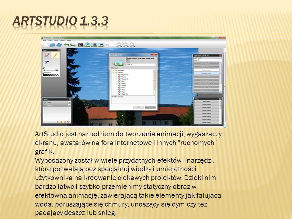 ArtStudio 1.3.3 ArtStudio jest narzędziem do tworzenia animacji, wygaszaczy ekranu, awatarów na fora internetowe i innych ruchomych grafik.