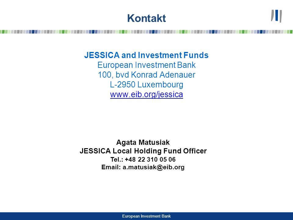 Kontakt JESSICA and Investment Funds European Investment Bank