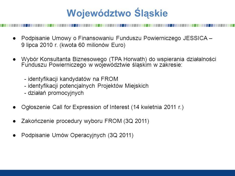 Date Województwo Śląskie. Podpisanie Umowy o Finansowaniu Funduszu Powierniczego JESSICA – 9 lipca 2010 r. (kwota 60 milionów Euro)
