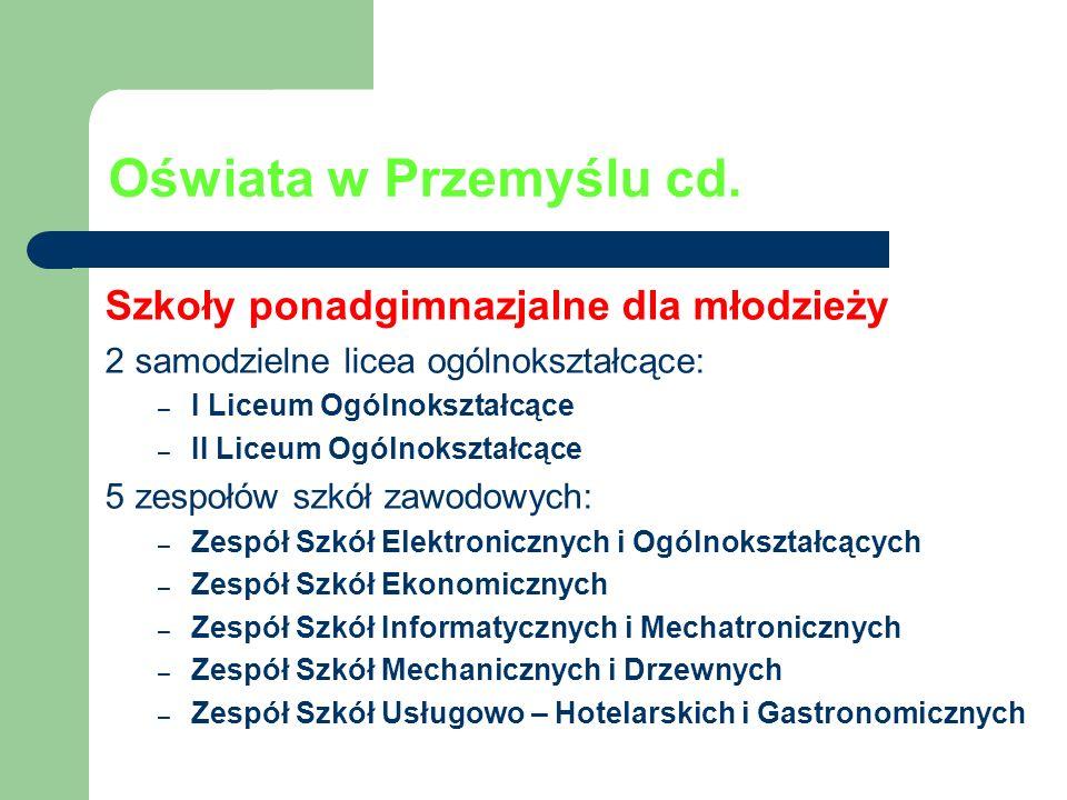 Oświata w Przemyślu cd. Szkoły ponadgimnazjalne dla młodzieży