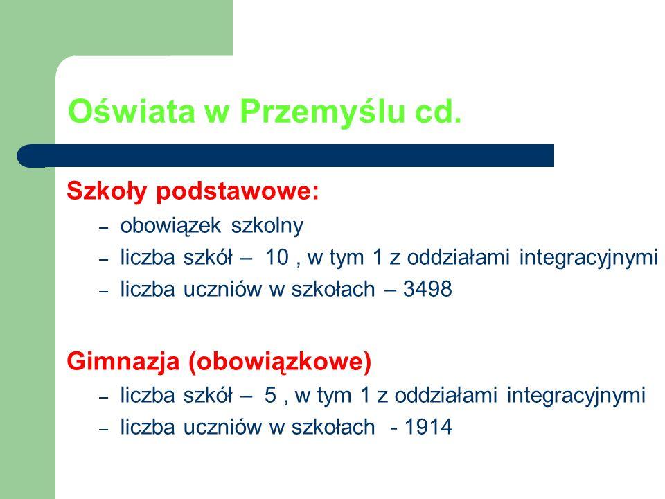 Oświata w Przemyślu cd. Szkoły podstawowe: Gimnazja (obowiązkowe)