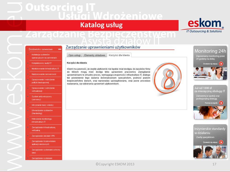 Katalog usług ©Copyright ESKOM 2013