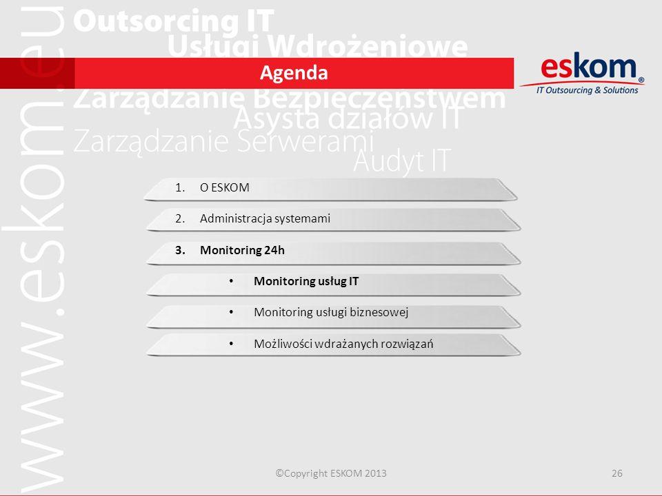 Administracja systemami Monitoring 24h Monitoring usług IT