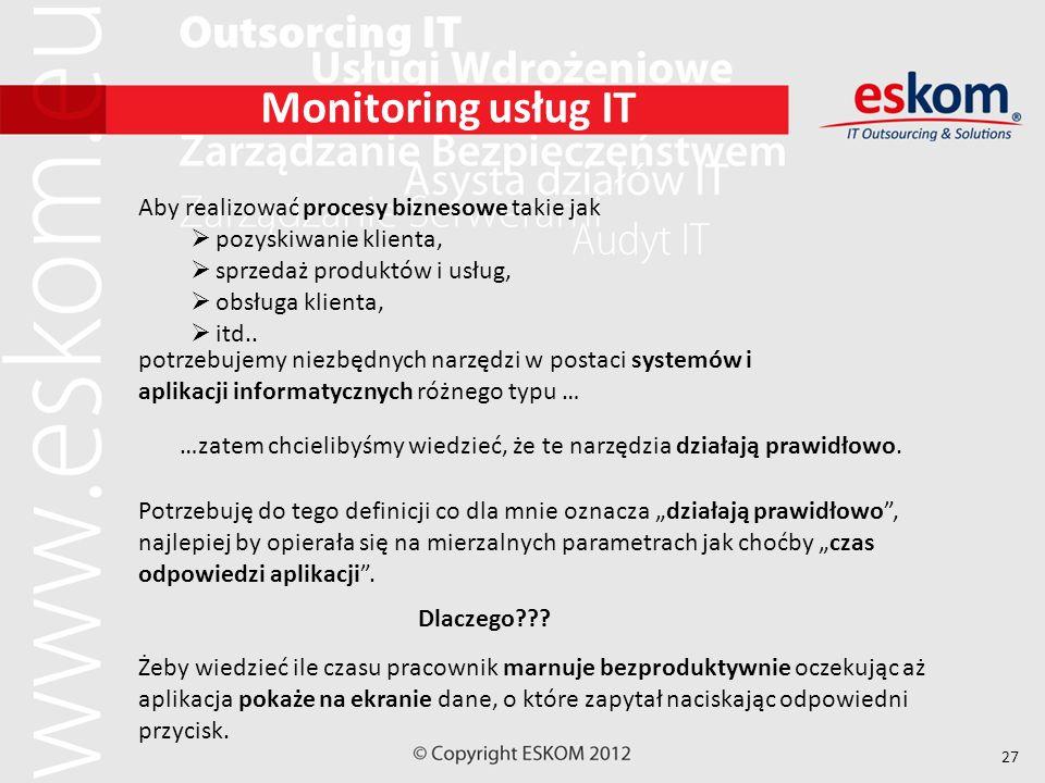Monitoring usług IT Aby realizować procesy biznesowe takie jak
