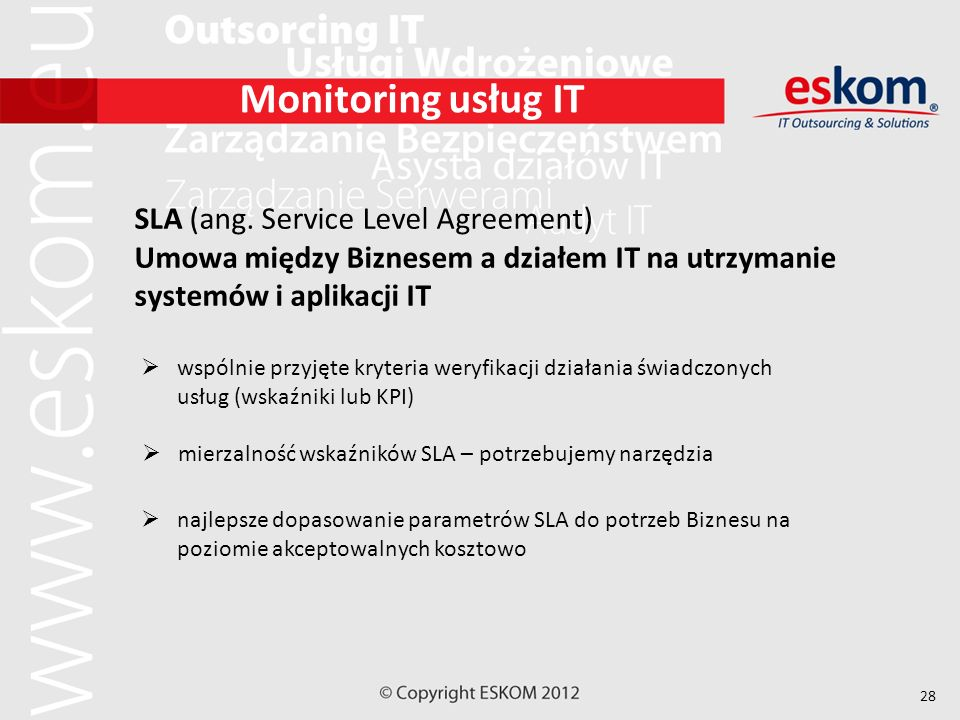 Monitoring usług IT SLA (ang. Service Level Agreement)
