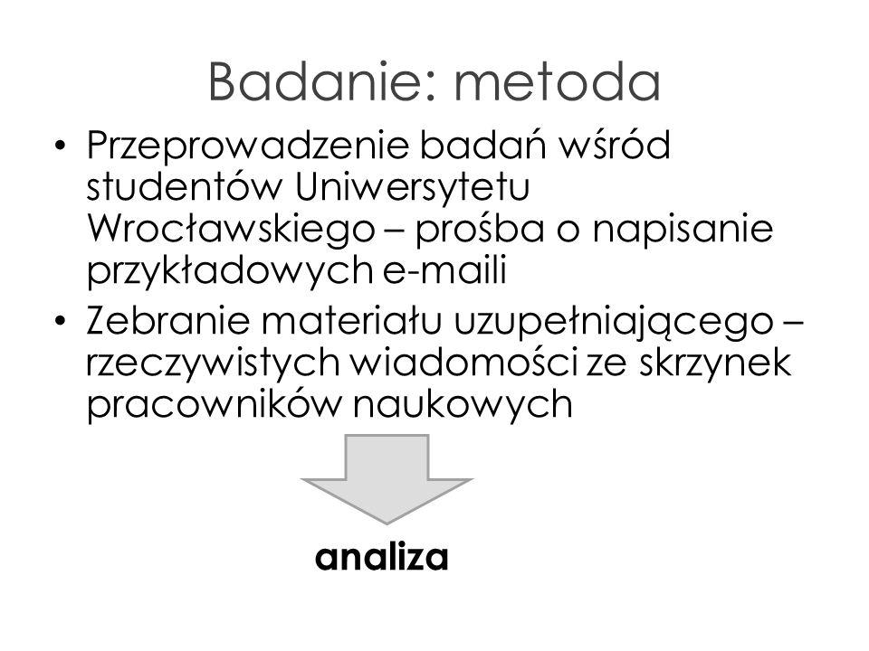 Badanie: metoda Przeprowadzenie badań wśród studentów Uniwersytetu Wrocławskiego – prośba o napisanie przykładowych e-maili.
