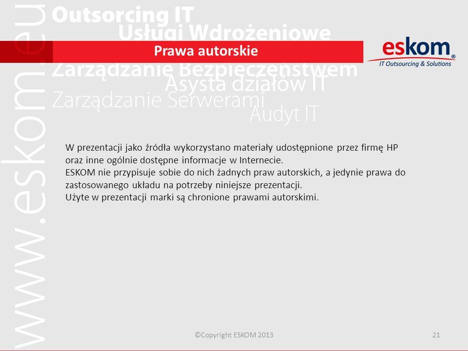 Prawa autorskieW prezentacji jako źródła wykorzystano materiały udostępnione przez firmę HP oraz inne ogólnie dostępne informacje w Internecie.