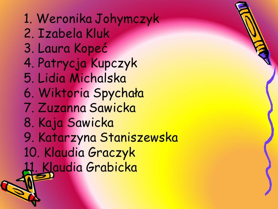 1. Weronika Johymczyk 2. Izabela Kluk. 3. Laura Kopeć. 4. Patrycja Kupczyk. 5. Lidia Michalska. 6. Wiktoria Spychała.