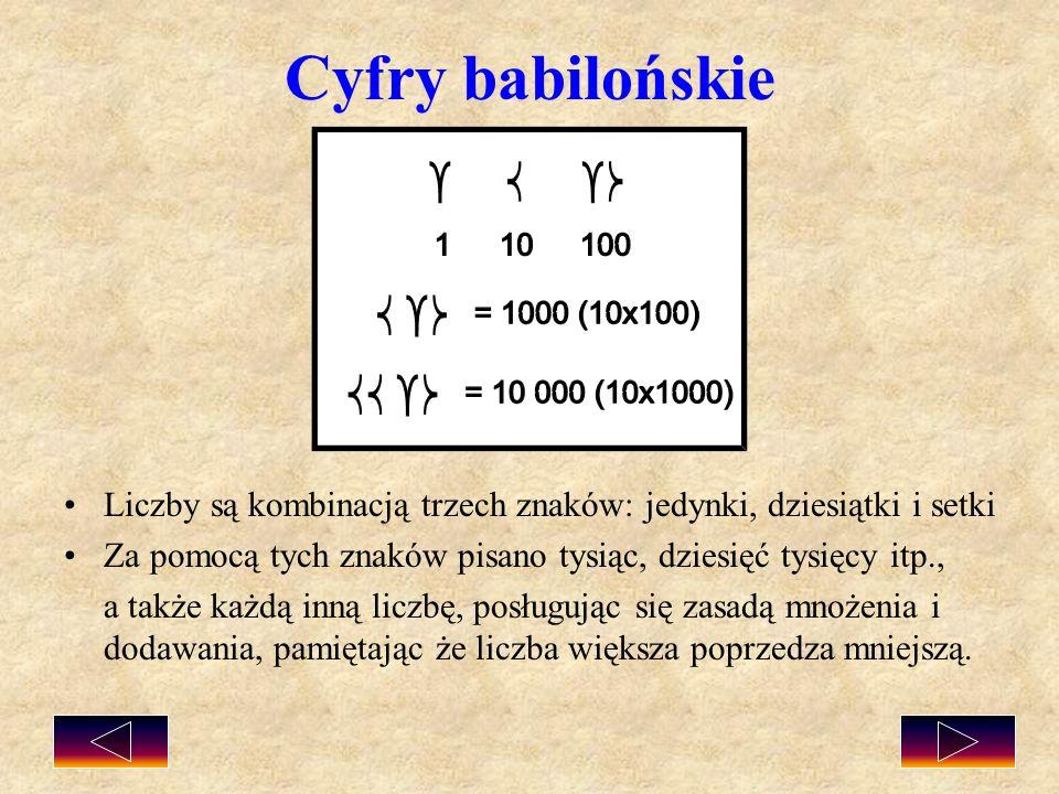 Cyfry babilońskie Liczby są kombinacją trzech znaków: jedynki, dziesiątki i setki. Za pomocą tych znaków pisano tysiąc, dziesięć tysięcy itp.,
