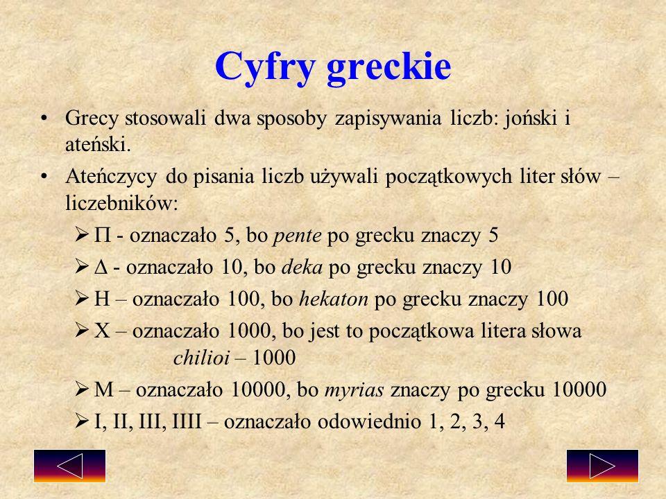 Cyfry greckie Grecy stosowali dwa sposoby zapisywania liczb: joński i ateński.