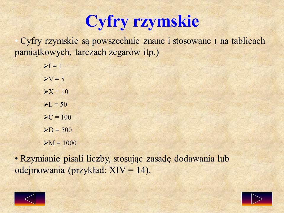 Cyfry rzymskie Cyfry rzymskie są powszechnie znane i stosowane ( na tablicach pamiątkowych, tarczach zegarów itp.)