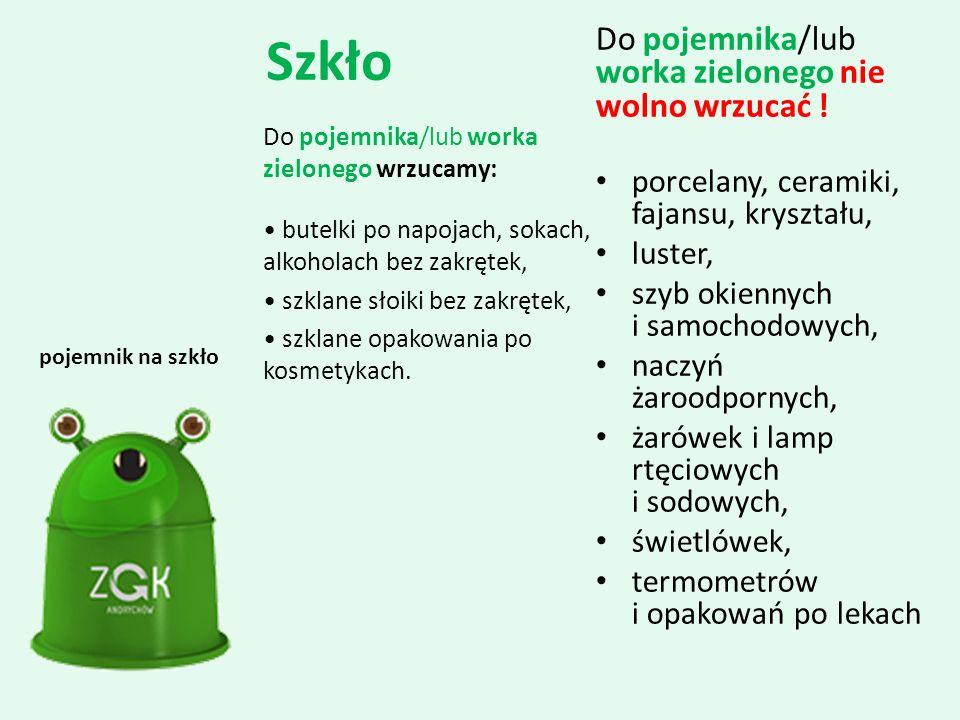 Szkło Do pojemnika/lub worka zielonego nie wolno wrzucać !