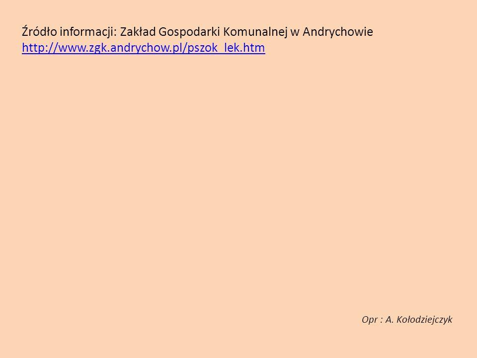 Źródło informacji: Zakład Gospodarki Komunalnej w Andrychowie http://www.zgk.andrychow.pl/pszok_lek.htm