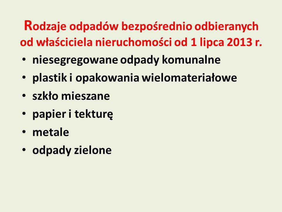 Rodzaje odpadów bezpośrednio odbieranych od właściciela nieruchomości od 1 lipca 2013 r.