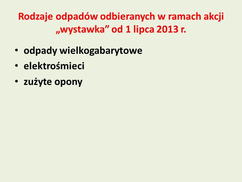 """Rodzaje odpadów odbieranych w ramach akcji """"wystawka od 1 lipca 2013 r."""