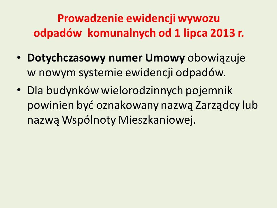 Prowadzenie ewidencji wywozu odpadów komunalnych od 1 lipca 2013 r.