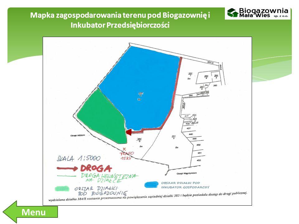 Mapka zagospodarowania terenu pod Biogazownię i Inkubator Przedsiębiorczości