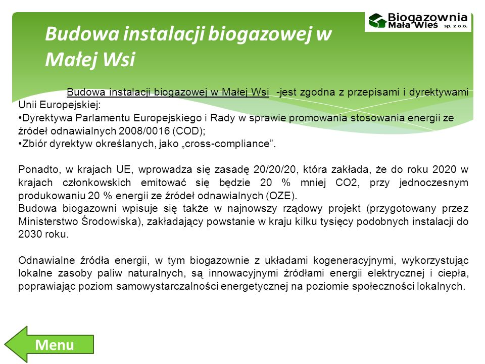 Budowa instalacji biogazowej w Małej Wsi