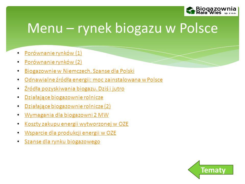 Menu – rynek biogazu w Polsce