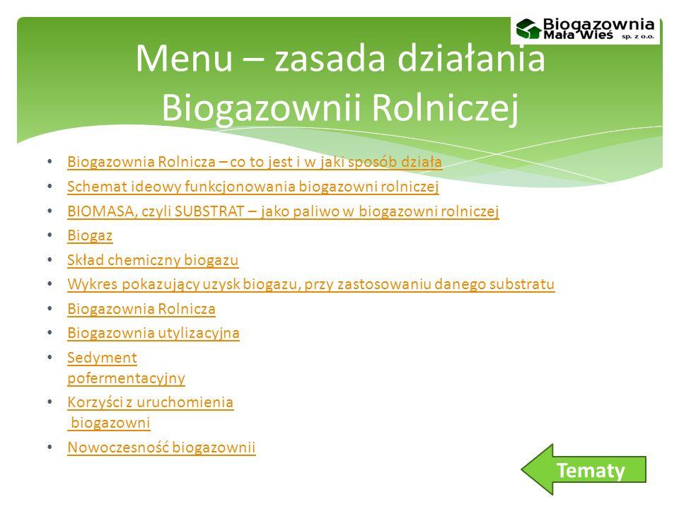 Menu – zasada działania Biogazownii Rolniczej