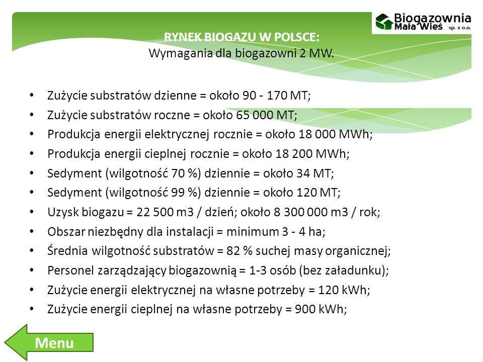 RYNEK BIOGAZU W POLSCE: Wymagania dla biogazowni 2 MW.