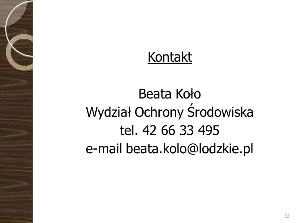 Kontakt Beata Koło Wydział Ochrony Środowiska tel