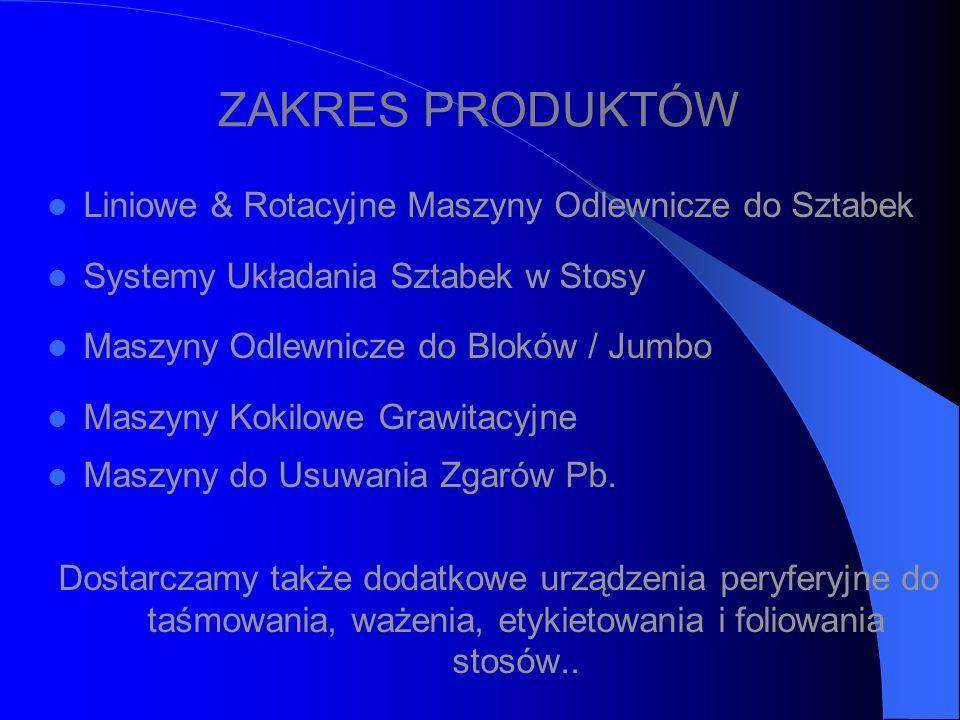 ZAKRES PRODUKTÓW Liniowe & Rotacyjne Maszyny Odlewnicze do Sztabek