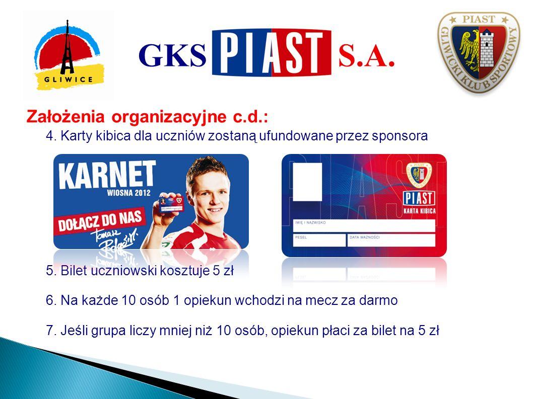 GKS S.A. Założenia organizacyjne c.d.:
