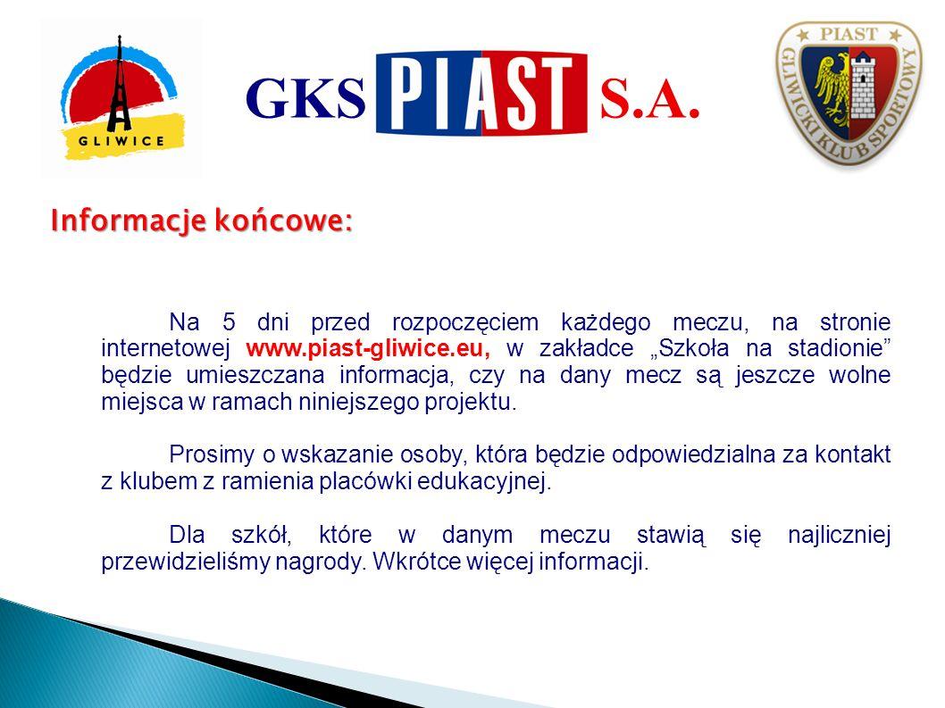 GKS S.A. Informacje końcowe: