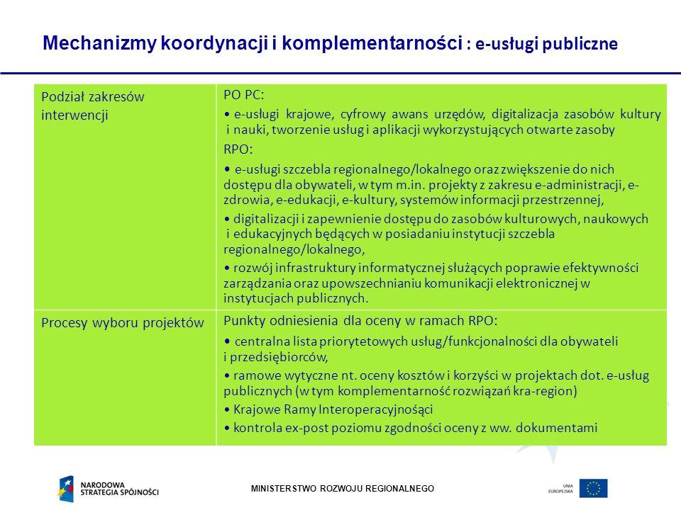 Mechanizmy koordynacji i komplementarności : e-usługi publiczne