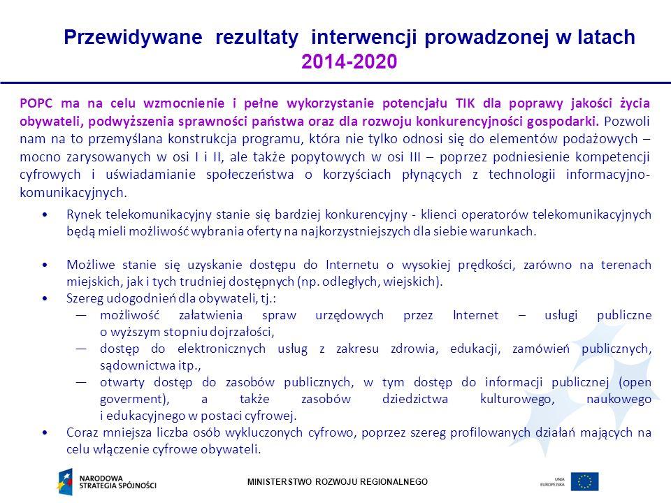 Przewidywane rezultaty interwencji prowadzonej w latach 2014-2020