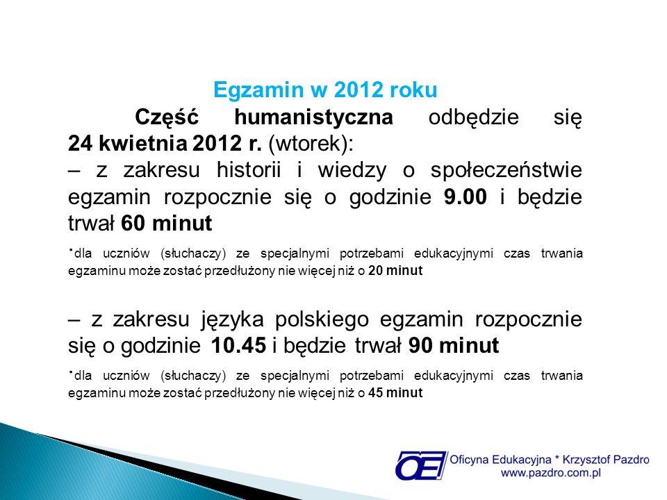 Egzamin w 2012 roku Część humanistyczna odbędzie się 24 kwietnia 2012 r. (wtorek):