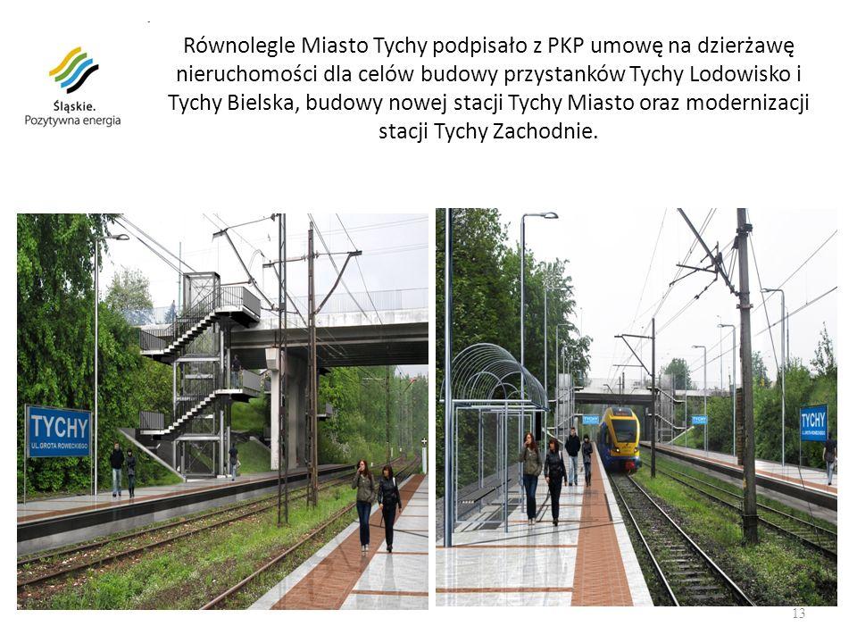 Równolegle Miasto Tychy podpisało z PKP umowę na dzierżawę nieruchomości dla celów budowy przystanków Tychy Lodowisko i Tychy Bielska, budowy nowej stacji Tychy Miasto oraz modernizacji stacji Tychy Zachodnie.