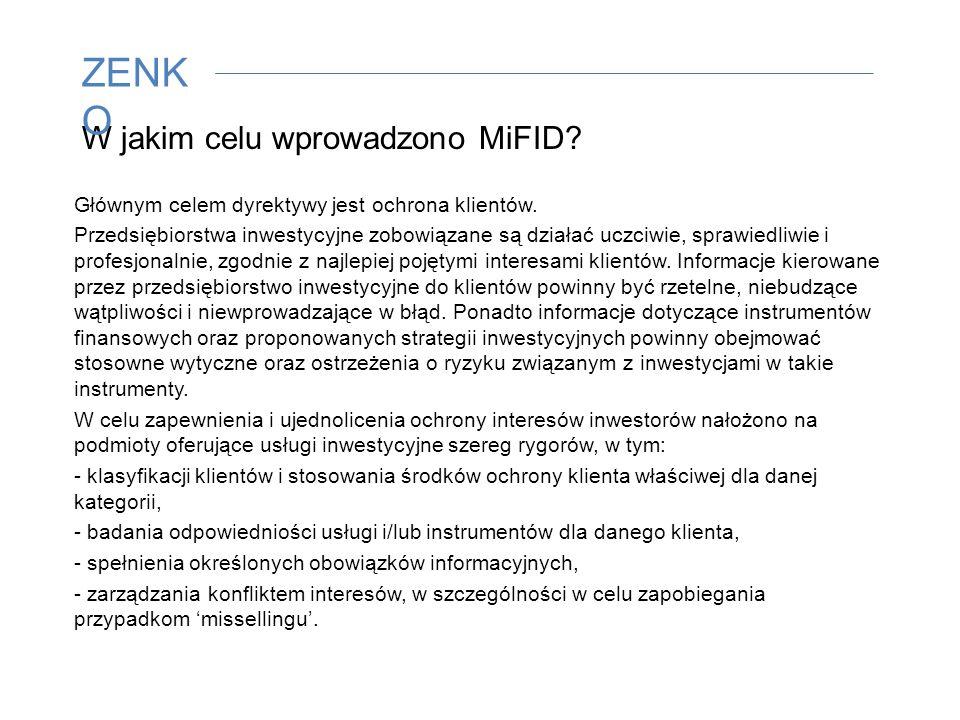 W jakim celu wprowadzono MiFID