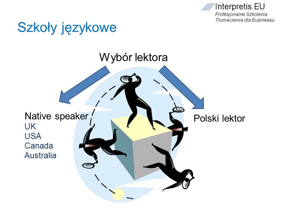 Szkoły językowe Wybór lektora Native speaker Polski lektor UK USA