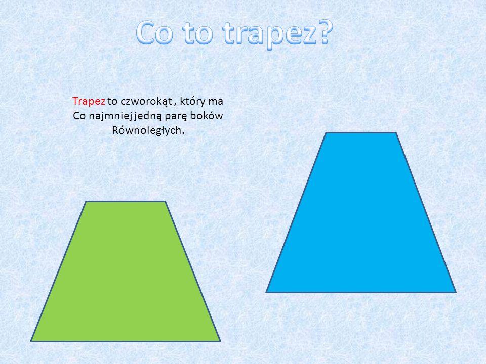 Co to trapez Trapez to czworokąt , który ma